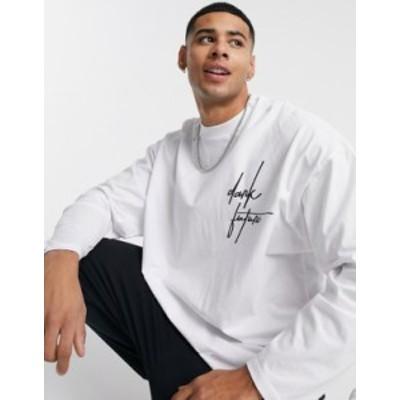 エイソス メンズ シャツ トップス ASOS Dark Future oversized long sleeve t-shirt in white White