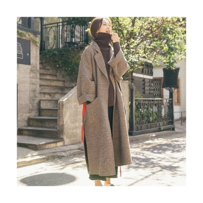 いい服の日SALE 冬 秋 グレンチェック柄 ロング丈 コート アウター オーバーサイズ ゆったり 大人カジュアル こなれ感