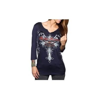 トップス ハーレーダビッドソン Harley-Davidson Women's Shirt, Steel Navy 3/4 Sleeve Embellished Tee HD122NVY