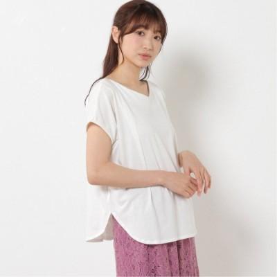 2wayフレンチ袖タックTシャツ オフホワイト M-L LL-3L 4L-5L