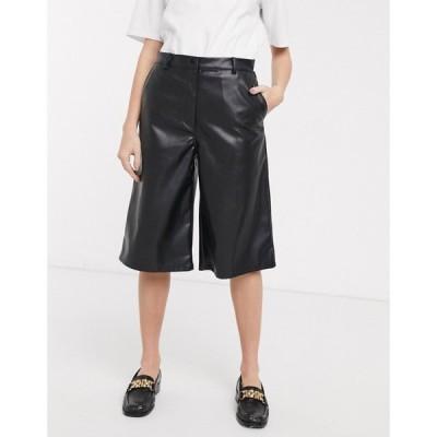 ウィークデイ Weekday レディース ショートパンツ ボトムス・パンツ longline faux leather shorts in black ブラック