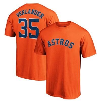 Justin Verlander ヒューストン・アストロズ Majestic Logo Official Name & Number T-シャツ - Orange