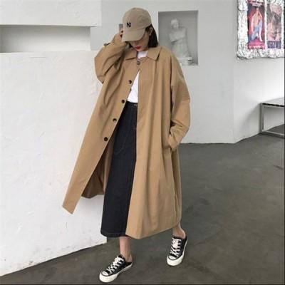 トレンチコート ステンカラーコート レディース アウター コート 秋 ゆったり ファッション 2019 新作 ジャケット ボダン付き カジュアル
