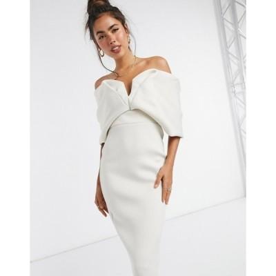 エイソス レディース ワンピース トップス ASOS DESIGN off shoulder sweetheart bardot V wire pencil midi dress in stone