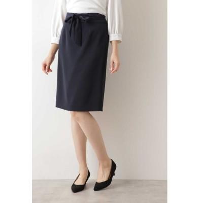 NATURAL BEAUTY BASIC/ナチュラルビューティーベーシック [洗える/防シワ]ポリエステルドビースカート ネイビー L