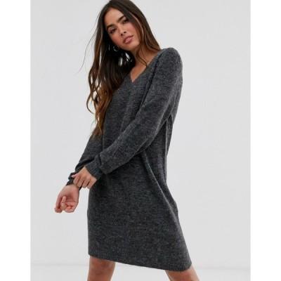 ヴィラ ミディドレス レディース Vila jumper mini dress with v-neck in grey エイソス ASOS グレー 灰色