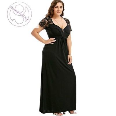 ワンピース ドレス パーティードレス 半袖 レース ロング丈 マキシ丈 大きいサイズ レディース 女性 婦人服 きれい かわいい おしゃれ 大人可愛い
