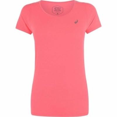 アシックス Asics レディース Tシャツ Vネック トップス V Neck Short Sleeve T Shirt Laser Pink