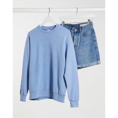 エイソス レディース パーカー・スウェットシャツ アウター ASOS DESIGN oversized washed sweatshirt in cornflower blue Blues