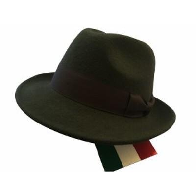 帽子 ソフト帽 ハット メンズ 紳士 イタリー製 ウール Wool 中折れ帽 フェドーラ ソフトハット C.Melegari社 Green/サイズ選択 H008