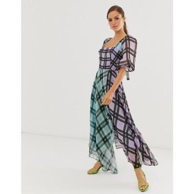 エイソス ASOS EDITION レディース ワンピース ミドル丈 ワンピース・ドレス Off Shoulder Midi Dress In Mixed Check Print マルチカラー