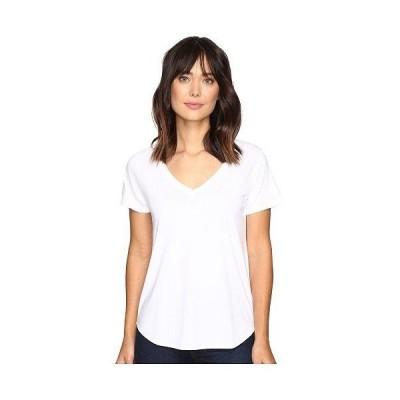 Lilla P リラP レディース 女性用 ファッション Tシャツ Pima Modal Short Sleeve V-Neck - White
