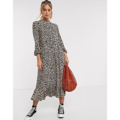 エイソス レディース ワンピース トップス ASOS DESIGN button through tiered smock maxi dress in leopard print