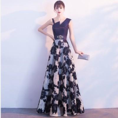 単肩Vネック ドレス/トレーンドレス/ファスナータイプ/ネイビー Aラインウエディングドレス/ロング丈&刺繍/XS~XXXLサイズ