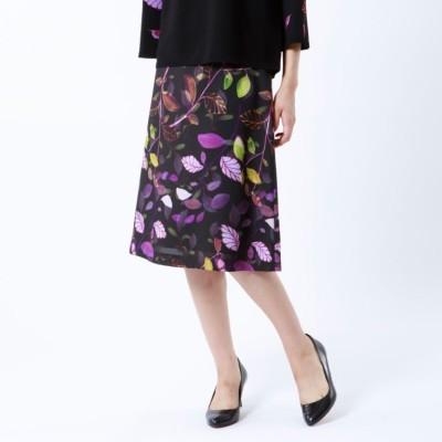 【ITALY FABRIC】【ウォッシャブル】リーフガーデンプリントスカート