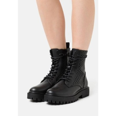 レディース ブーツ Lace-up ankle boots - black