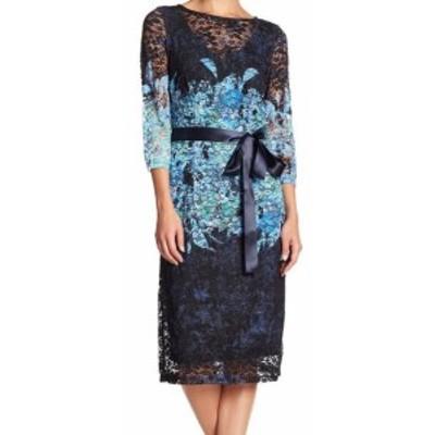 Chetta B チェッタビー ファッション ドレス Chetta B NEW Navy Blue Womens Size 8 Floral-Lace Tie-Waist Sheath Dress