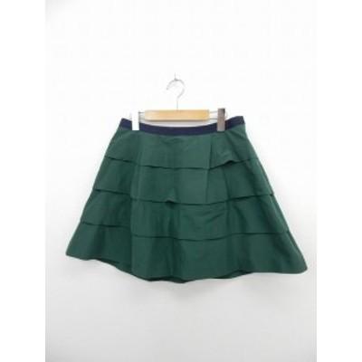 【中古】スマッキーグラム SmackyGlam スカート ミニ フレア ティアード サイドジップ リボン 4 緑 グリーン /ST3 レディース
