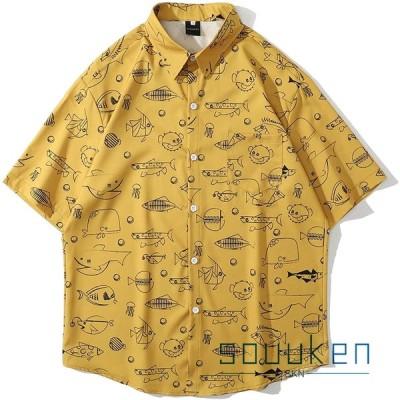 メンズ アロハシャツ 半袖 夏服 かわいい ハワイ風 薄手 ゆったり カジュアル 開襟 旅行 リゾート ビーチ 海水浴 リゾートシャツ