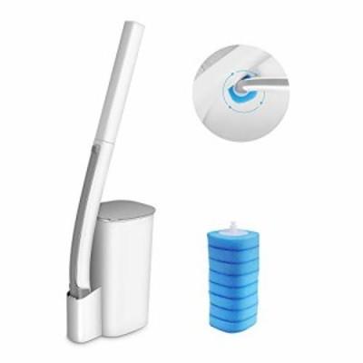 【送料無料】Eyliden トイレブラシ クリーナー トイレ掃除ブラシ 収納ケース付き 本体 取り替え式 洗剤付 取替8個 トイレ用 本体 トイレ