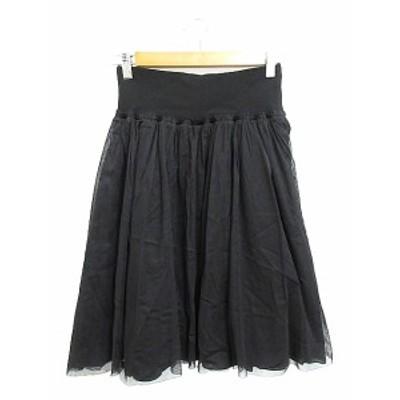 【中古】イネド INED スカート ギャザー ひざ丈 黒 ブラック /AAM レディース
