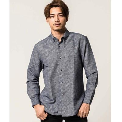 シャツ ブラウス MINS MINIS 総柄レギュラーカラー長袖ボタンダウンシャツ【w】