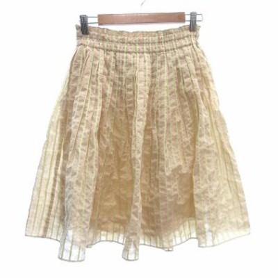 【中古】パンソー Pinceau ギャザースカート フレア ひざ丈 ストライプ 38 ベージュ /CT レディース