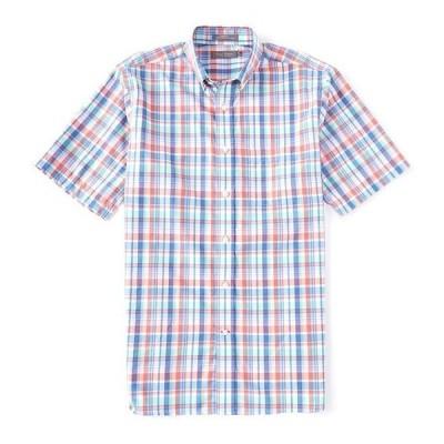 ダニエル クレミュ メンズ シャツ トップス Daniel Cremieux Signature Plaid Bright Indigo Short-Sleeve Woven Shirt