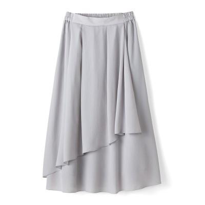 動くたびゆらめく 花びらみたいなラップ風スカート〈アイスグレー〉 IEDIT[イディット] フェリシモ FELISSIMO