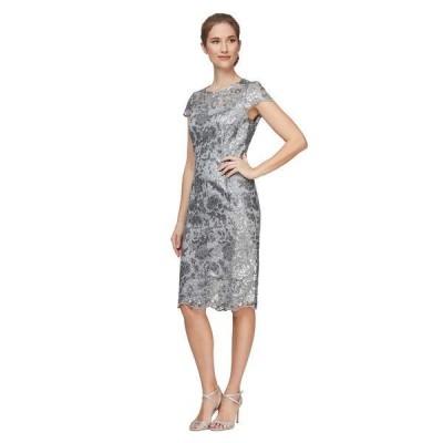 アレックスイブニングス レディース ワンピース トップス Short Embroidered Cap Sleeve Dress