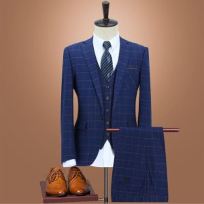 春秋 メンズ スーツ チェック柄 スリーピース 2つボタン フォーマルスーツ 3ピース セットアップスーツ 紳士 ビジネススーツ 結婚式 通勤