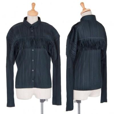 プリーツプリーズPLEATS PLEASE フリンジシャツジャケット 濃紺4 【レディース】
