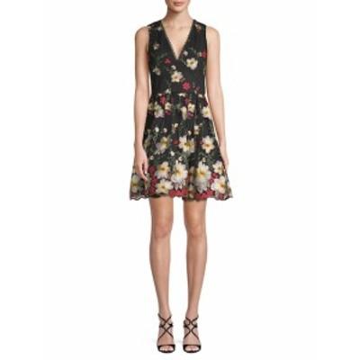アリス+オリビア レディース ワンピース Floral Embroidery Flare Dress