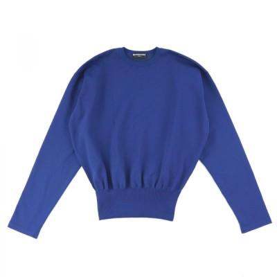 バレンシアガ リブニットトップス レディース 青 XS 未使用 クルーネック セーター 16年 BALENCIAGA