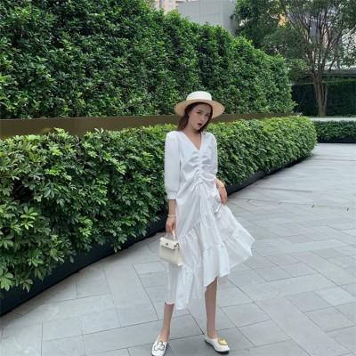 💗INS熱い販売 絶対的な高品質💗韓国ファッション  小さい新鮮な 夏 新作 巾着 しわ 不規則 ドレス ホワイトドレス