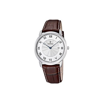 Festina Men's Klassik Quartz Watch with Silver Dial Analogue Display and Brown Leather Strap 並行輸入品