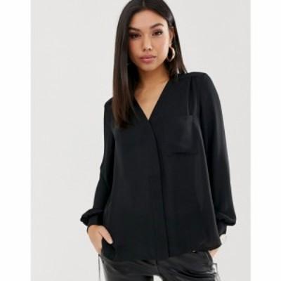 エイソス ASOS DESIGN レディース ブラウス・シャツ トップス long sleeve blouse with pocket detail ブラック