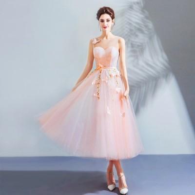 カラードレス 結婚式 花嫁 パーティードレス ミニ ミモレ丈 ワンピース 二次会 ドレス 演奏会 発表会 大きいサイズ 安い ピンク 演出 送料無料