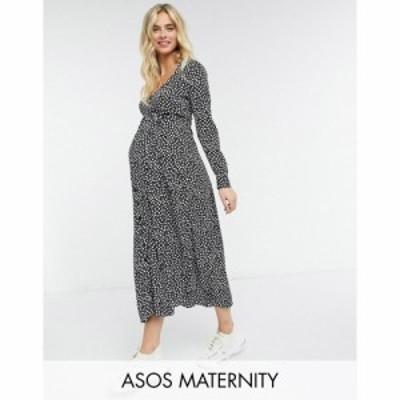 エイソス ASOS Maternity レディース ワンピース マタニティウェア Maternity Exclusive Tie Waist Button Through Midi Dress In Mono F