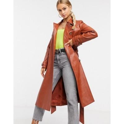 ヘレンベーマン レディース コート アウター Helene Berman vinyl trench coat in rust red