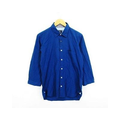 【中古】ビームスハート BEAMS HEART シャツ 長袖 地模様 胸ポケット コットン M ブルー ※EKM メンズ 【ベクトル 古着】