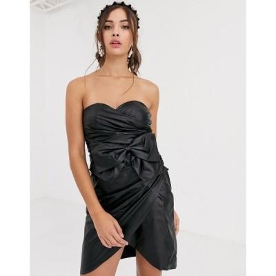 コレクティブ ミディドレス レディース Collective The Label bandeau PU mini dress with bow detail in black エイソス ASOS ブラック 黒