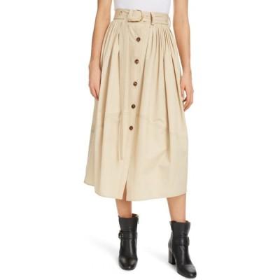 クロエ CHLOE レディース ひざ丈スカート スカート Belted Pleated Poplin Midi Skirt Soften Brown