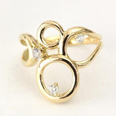 リング レディース 指輪 18金 18k K18 ゴールド ダイヤモンド ダイヤ 0.12ct カラット ピンキーリング 小指 文字入れ不可