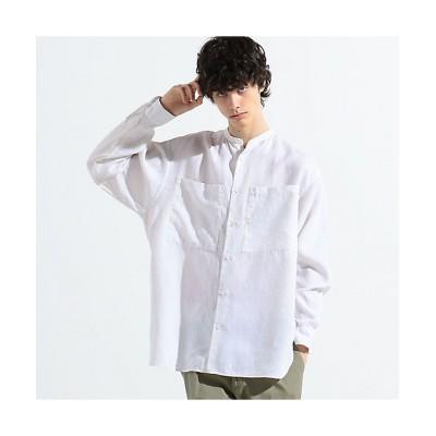 <TOMORROWLAND (Men)/トゥモローランド> リネンポプリン×コットンブロード バンドカラーシャツ 11ホワイト【三越伊勢丹/公式】
