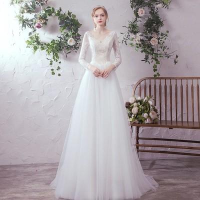 ウェティグドレス パーティードレス Aラインドレス ロングドレス 長袖 結婚式 二次会 海外挙式 花嫁 安い 大きいサイズ 発表会 ワンピース おしゃれ 前撮り