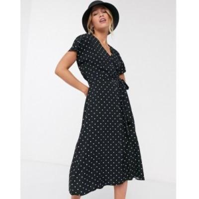ウェアハウス Warehouse レディース ワンピース ミドル丈 ワンピース・ドレス button through polka dot midi dress in black ブラックプ
