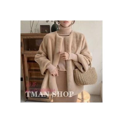 ファーコート 毛皮コート ふわふわ トレンドゆったり シンプル ファッション 秋冬 ファーアウター ノーカラー レディース 新作 大人 可愛い 暖かい