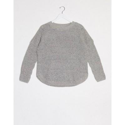 オンリー レディース ニット・セーター アウター Only Bernice long sleeve round neck sweater in gray