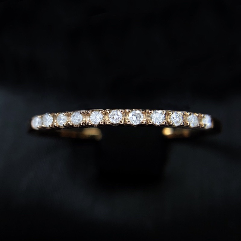【巧品珠寶】18K金真金真鑽 天然鑽石10分 簡約設計款鑽石線戒